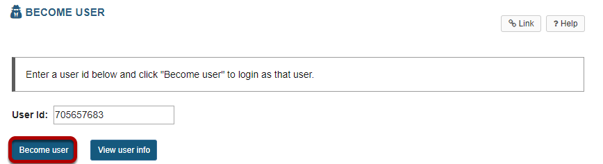 Enter a user id and click Become user.