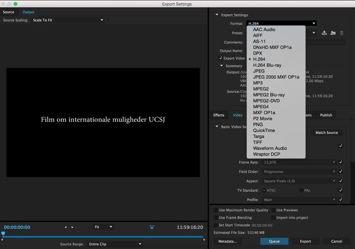 Exportering i Premiere Pro