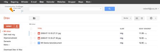 Inde i Google Drev