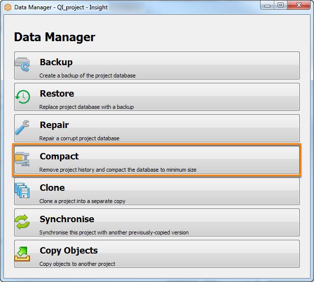 Compact in Data Manager