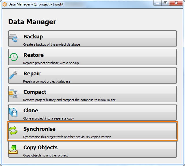 Click Synchronise in Data Manager