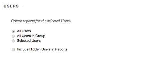 Image of the Users section of the Create Reports screen.
