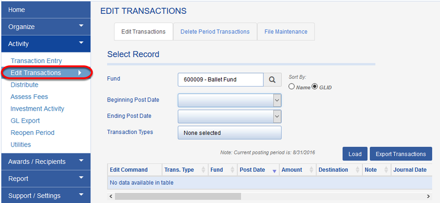 Transaction histories can also be accessed through ACTIVITY > EDIT TRANSACTIONS.