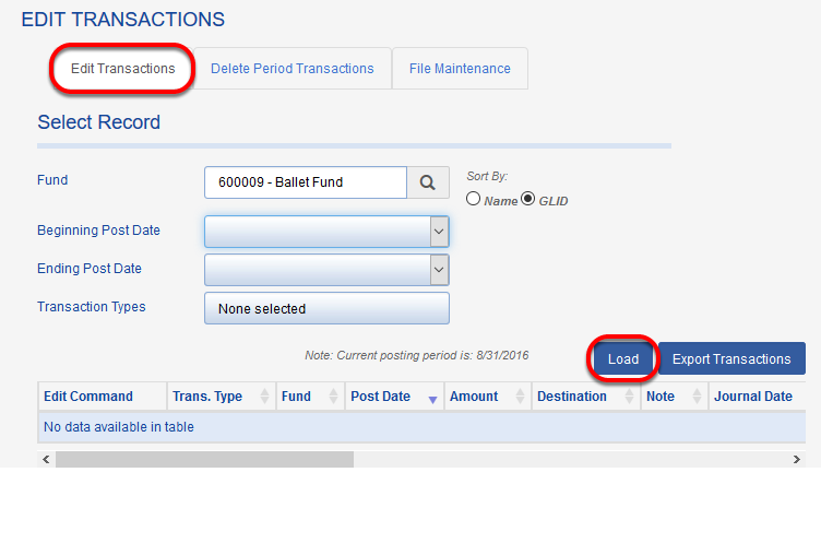 Choose your fund, any parameters you would like to apply, and click LOAD. The results will appear in a grid below the LOAD button.