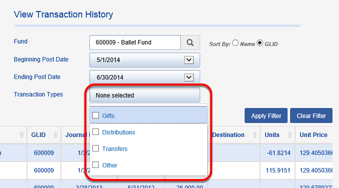 You can filter by Transaction Type, if you choose. NONE SELECTED will return all Transaction Types.