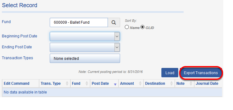 If you would like to push the results to a report or, ultimately, export them, click on the COPY TRANSACTIONS button.