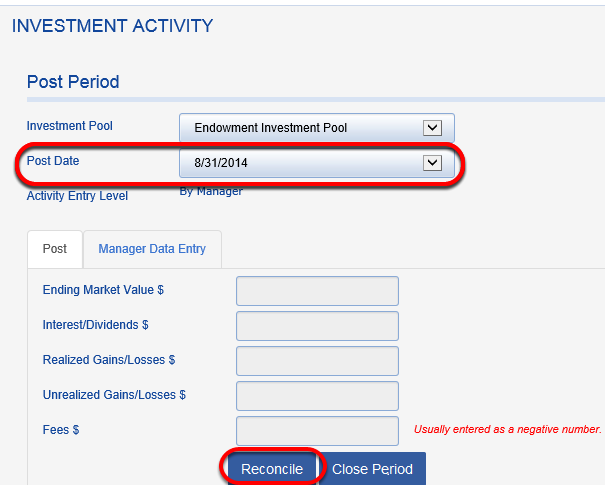 Now it is time to enter investment activity for August.  Go to INVESTMENT ACTIVITY and click to select the POST DATE for August.
