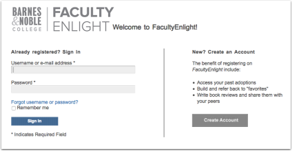 screenshot of faculty enlight log-in page.