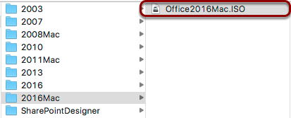 "Double-Click ""Office2016Mac.iso"""
