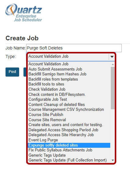 Select Expunge Softly Deleted Sites from the Type drop-down menu.