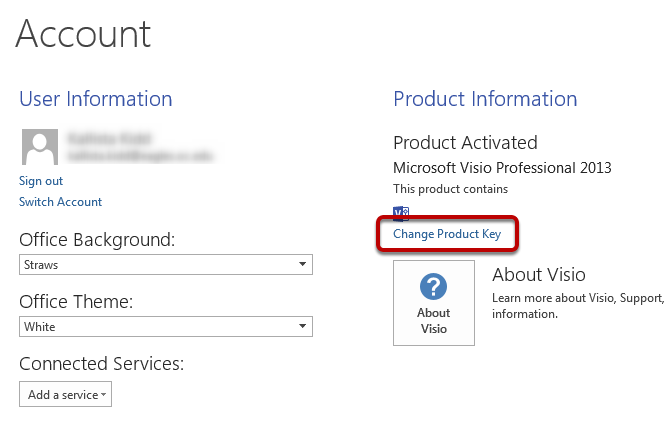 "Click ""Change Product Key"""