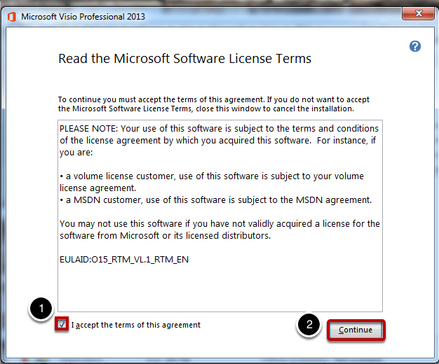 agree to the terms - Microsoft Visio For Windows 7