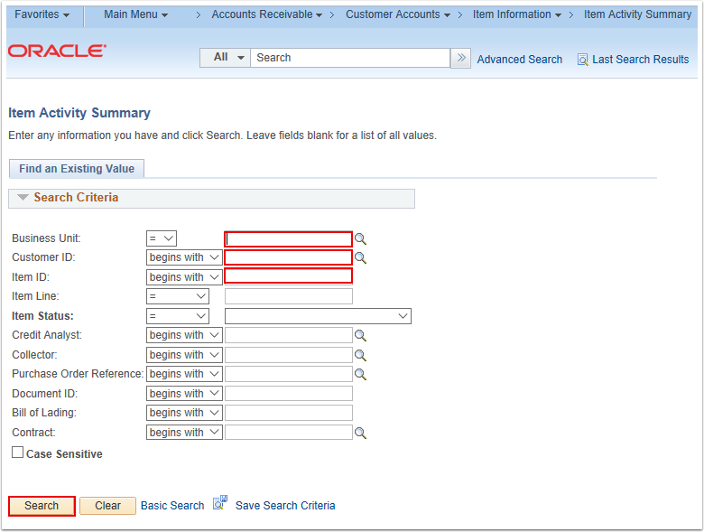 Item Activity Summary Search Page