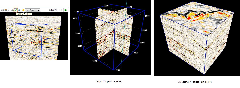 View volume data in probe in 3D view