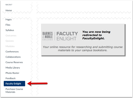 screenshot of faculty enlight page in canvas