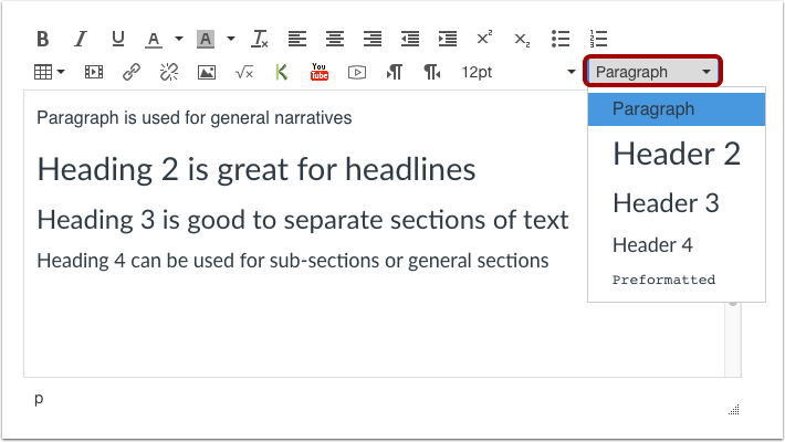 Use the Paragraph Drop-down Menu