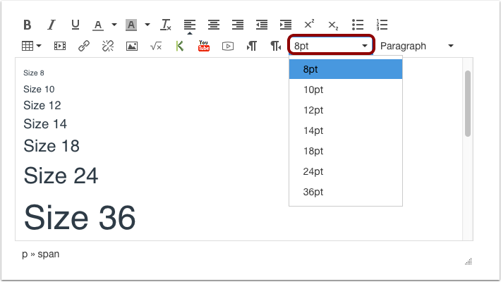 Use Font Size Drop-down Menu