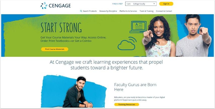 screenshot of cengage website