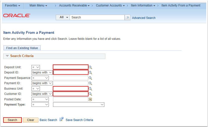 Item Activity From a Payment Search