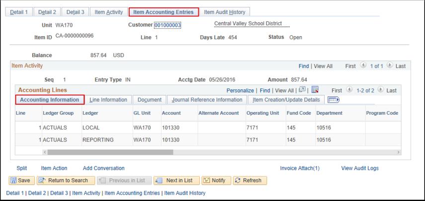Item Accounting Entries Tab