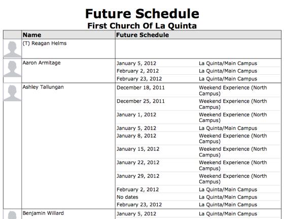 Future Schedule
