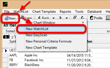 7. In TC2000 v7, go to a select New and then Left click on New WatchList