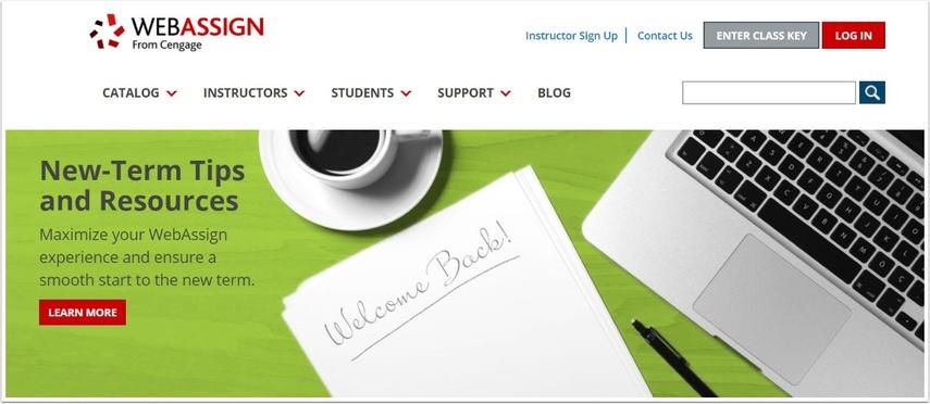 screenshot of webassign's website