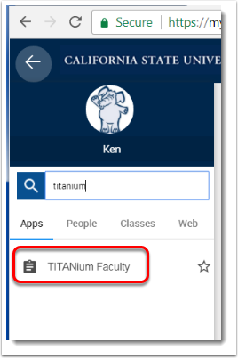 Click on TITANium Faculty when it appears below the search box.