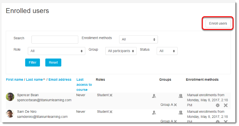 Click on the Enroll users button.