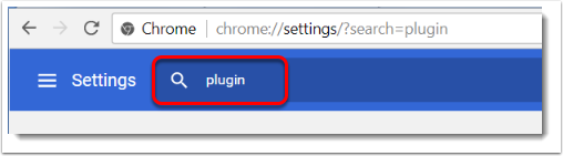 Type the word 'plugin' or 'flash' in the search field.