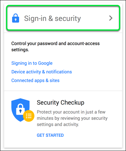 Click Sign-in & Security