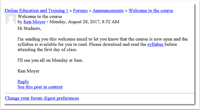 An email will be sent to each user in the course.