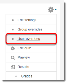 Click on User overrides in the Administration block.