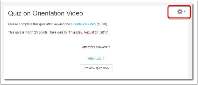 Click on the Gear icon within the Quiz page.