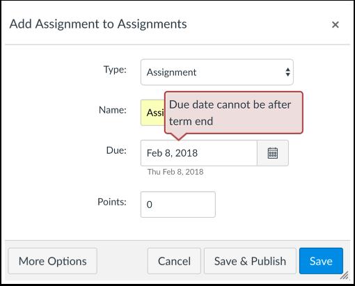 Ver Error de fecha de curso o período