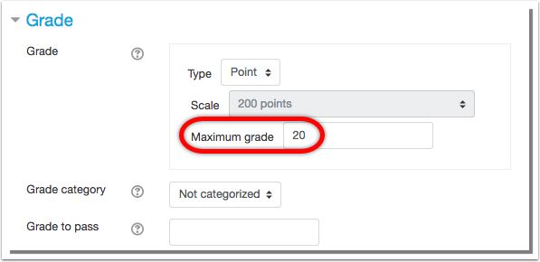 Maximum grade of 20 points entered