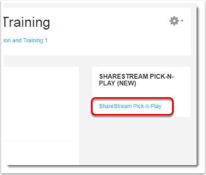 Click on the ShareStream Pick-N-Play link.