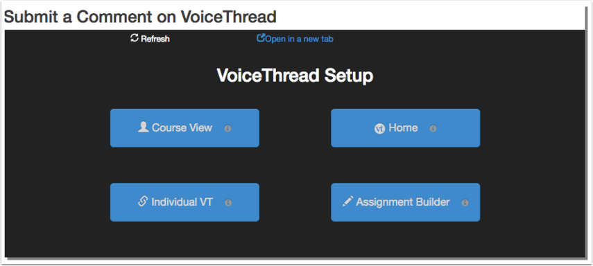 VoiceThread Setup page with 4 buttons