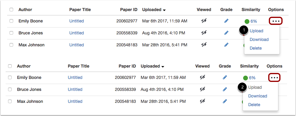 View Assignment Upload Options
