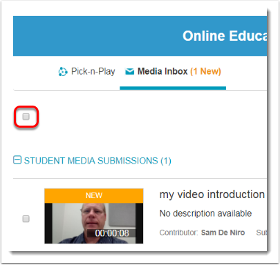 Click on the Check box at the top to select all student media.