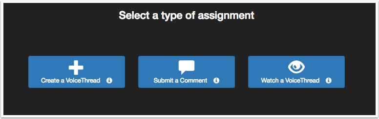 Select type of assignment page
