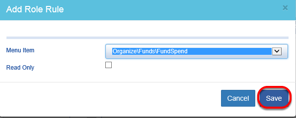 Choose whether the access is edit (default) or read only (check box). SAVE the item.