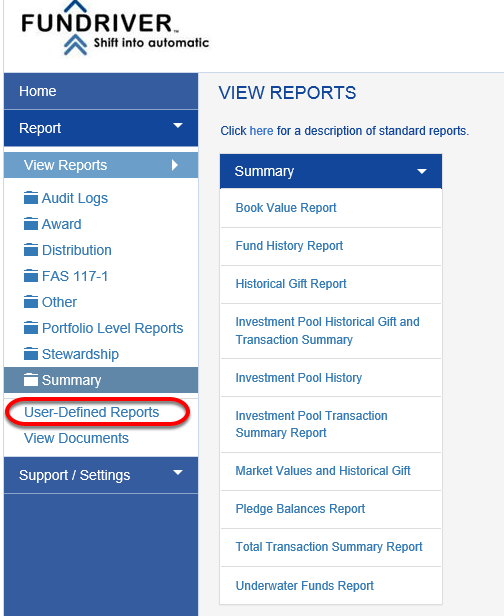 The view below shows the addition of the User-Defined Reports functionality to the REPORT ONLY user role.