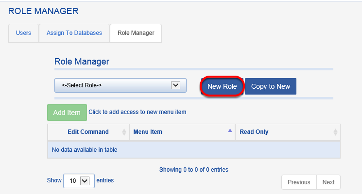 A new role can also be created from scratch.  To start the process, click on NEW ROLE from the ROLE MANAGER tab.