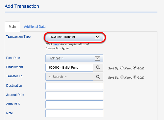 In the MAIN tab, select a transaction type of HG/Cash Transfer.