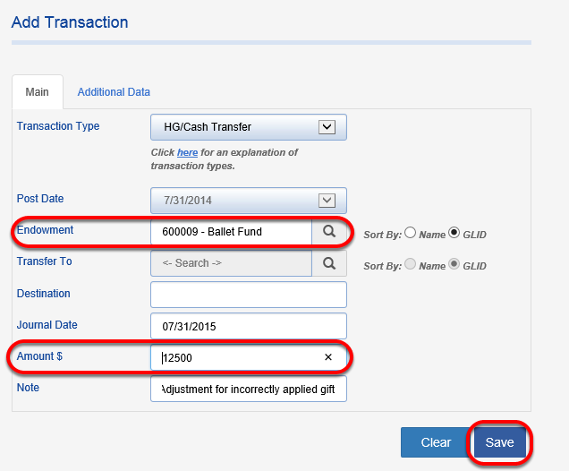 Create another transaction to show the historical gift moving to the new fund.  Choose HG/Cash Transfer again and enter the receiving fund in the ENDOWMENT field.  Enter the historical gift amount, this time as the opposite sign as in the first transaction.  Click SAVE.