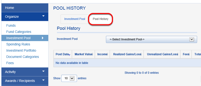 Click on the POOL HISTORY tab.