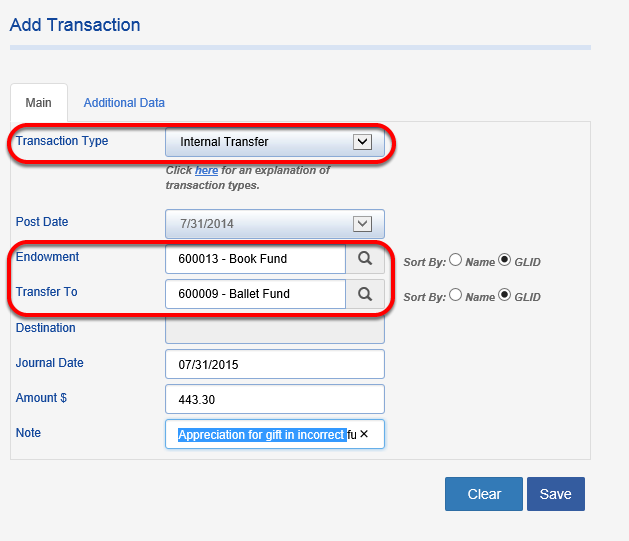 Lastly, add a transaction to transfer the appreciation earned by the gift since it was originally posted.  Choose a TRANSACTION TYPE of INTERNAL TRANSFER and show the appreciation amount transferring from the original fund to the new fund.
