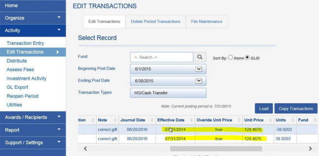Transactions to correct the gift are entered as of the current post date.  As you can see from the EDIT TRANSACTIONS screen, two correction entries were made, both categorized as HG/Cash Transfers.  The OVERRIDE UNIT PRICE column is populated with TRUE to reflect that the override occurred.