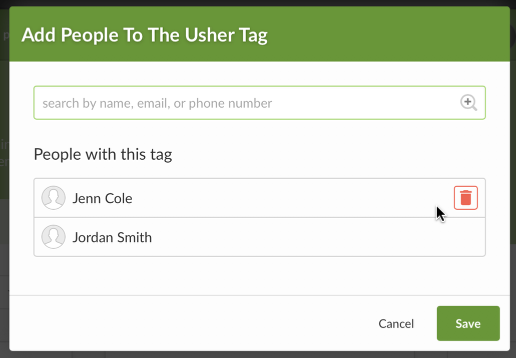 Click on the Pencil Icon next to the tags to assign people from your database to this option